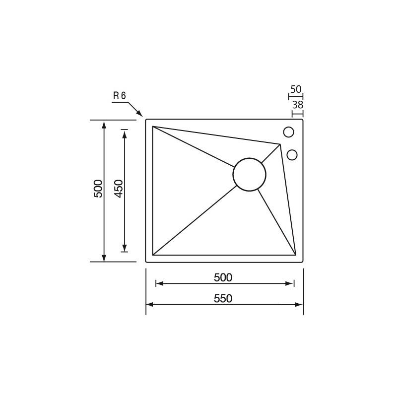 Cm space 55x50 fregadero de un seno acero inox aisi304 - Fregadero de un seno ...