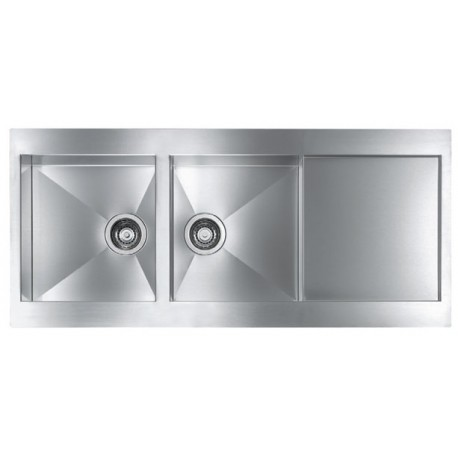 CM REVERS 116X52 KITCHEN SINK 2 BOWL BRUSHED STAINLESS STEEL - MADE IN ITALY