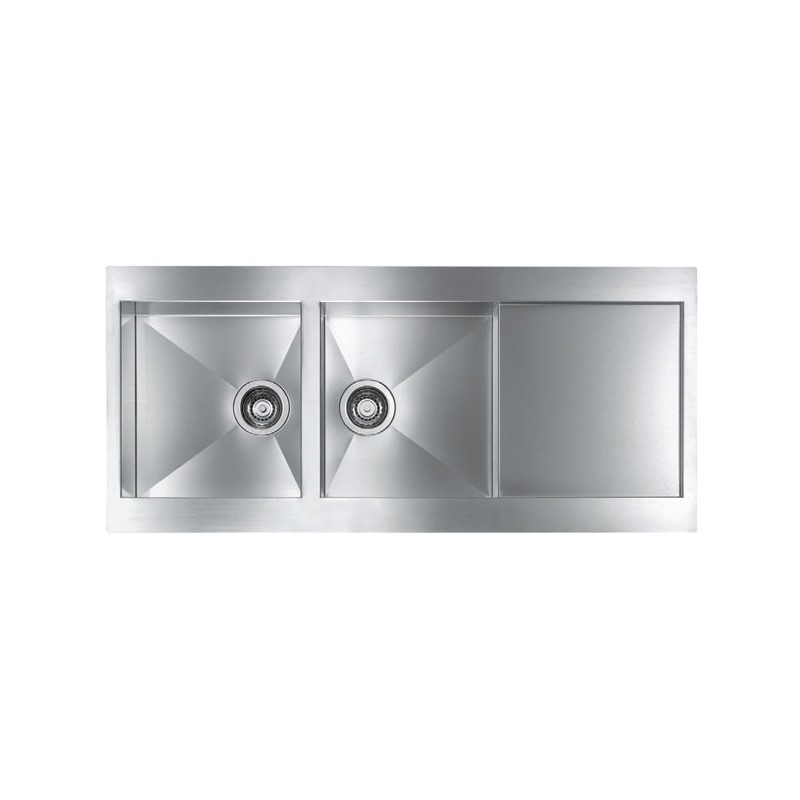 CM REVERS 116X52 KITCHEN SINK 2 BOWL BRUSHED STAINLESS STEEL - MADE...
