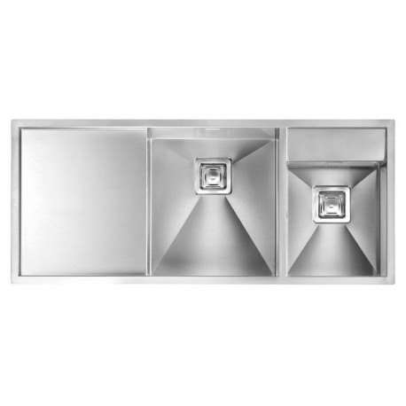 CM ARIEL 116X50 KITCHEN SINK 1.5 BOWL BRUSHED STAINLESS STEEL - MAD...