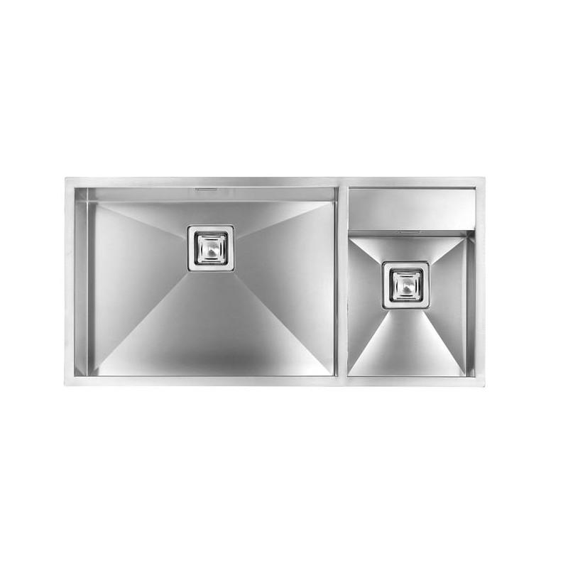 cm ariel 100x50 einbausp le doppelbecken edelstahl geb rstet fab a. Black Bedroom Furniture Sets. Home Design Ideas