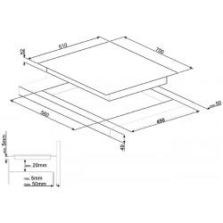 TABLE DE CUISSON INDUCTION SMEG SIM570B - 65 CM BORD BISEAUTÉ