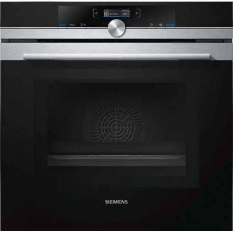 SIEMENS ELECTRIC THERMOVENTILATED OVEN WITH MICROWAVE HM633GBS1 STAINLESS STEEL AND BLACK GLASS  60 CM