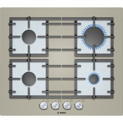 BOSCH GAS HOB 4 BURNERS PPP618B91E QUARTZ CHAMPAGNE GLASS 60 CM