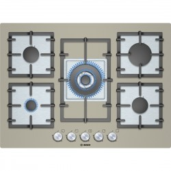 BOSCH GAS HOB 5 BURNERS PPQ718B91E QUARTZ CHAMPAGNE GLASS 70 CM