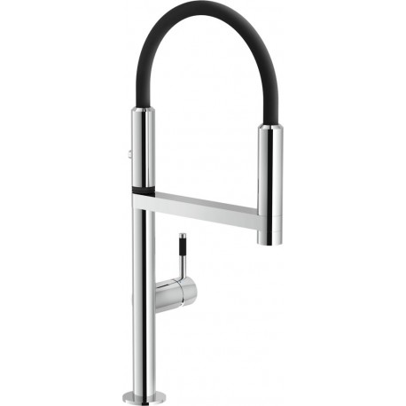 NOBILI MOVE SINGLE LEVER SINK MIXER KITCHEN TAP CHROME PLATED AND BLACK RUBBER