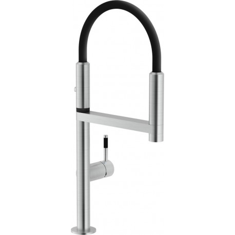 NOBILI MOVE SINGLE LEVER SINK MIXER KITCHEN TAP BRUSHED CHROME AND BLACK RUBBER