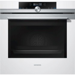 SIEMENS ELECTRIC CONVECTION THERMOVENTILATED OVEN HB633GBW1J STAINLESS STEEL AND WHITE GLASS 60 CM EEC A+