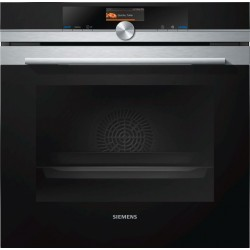 SIEMENS ELECTRIC PYROLYTIC CONVECTION OVEN WITH MICROWAVE HM676G0S6 STAINLESS STEEL AND BLACK GLASS  60 CM
