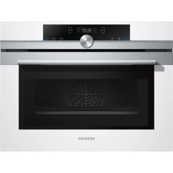 SIEMENS ELECTRIC COMPACT OVEN WITH MICROWAVE CM633GBW1 STAINLESS STEEL AND WHITE GLASS 60x45 CM