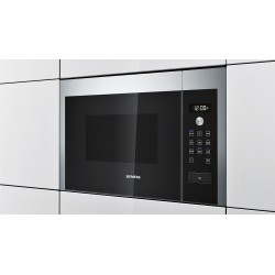 SIEMENS BUILT-IN MICROWAVE HF24M564 STAINLESS STEEL AND BLACK GLASS FRAMELESS