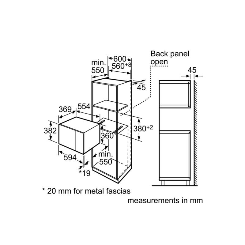 four micro ondes encastrable siemens hf24m564 acier inox et verre. Black Bedroom Furniture Sets. Home Design Ideas