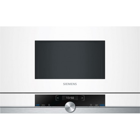 SIEMENS BUILT-IN MICROWAVE BF634LGW1 STAINLESS STEEL AND WHITE GLASS FRAMELESS
