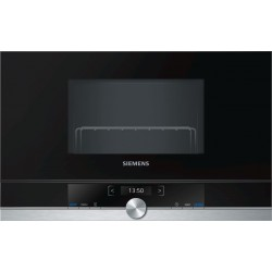 SIEMENS BUILT-IN MICROWAVE WITH GRILL BE634LGS1 STAINLESS STEEL AND BLACK GLASS FRAMELESS