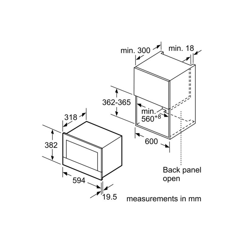 four micro ondes avec grill encastrable siemens be634lgs1 acier i. Black Bedroom Furniture Sets. Home Design Ideas