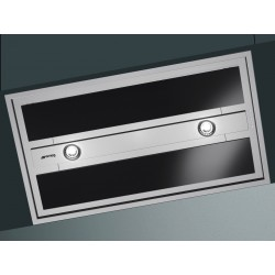 SMEG INTEGRATED CEILING HOOD KSEG90VXNE STAINLESS STEEL AND BLACK GLASS 90 CM