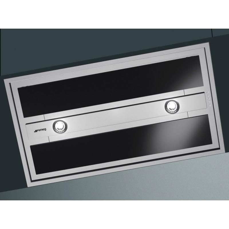Hotte encastrable plafond smeg kseg90vxne acier inox et verre noir 90 cm