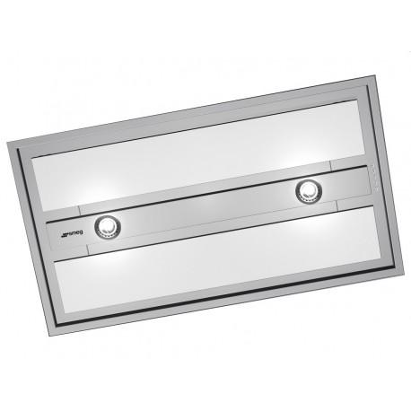 HOTTE ENCASTRABLE PLAFOND SMEG KSEG90VXBE ACIER INOX ET VERRE BLANC 90 CM