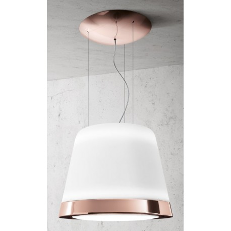 ELICA SUMMILUX COPPER/F/50 SUSPENDED ISLAND HOOD GLASS AND POLISHED COPPER EFFECT METAL Ø 50 CM