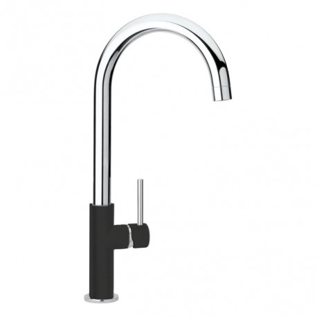 SCHOCK AQUADROP SINGLE LEVER KITCHEN SINK MIXER TAP CHROME AND MATT BLACK