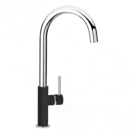 SCHOCK AQUADROP SINGLE LEVER KITCHEN SINK MIXER TAP CHROME AND PURE BLACK