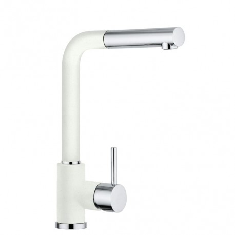 SCHOCK AQUAVIVA SINGLE LEVER KITCHEN SINK MIXER TAP WITH PULL OUT SPRAY CHROME AND WHITE ALPINA
