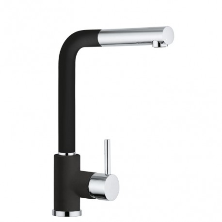 SCHOCK AQUAVIVA SINGLE LEVER KITCHEN SINK MIXER TAP WITH PULL OUT SPRAY CHROME AND PURE NOIR