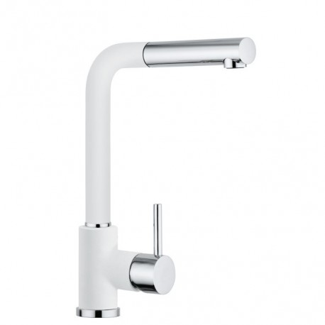 SCHOCK AQUAVIVA SINGLE LEVER KITCHEN SINK MIXER TAP WITH PULL OUT SPRAY CHROME AND PURE WHITE