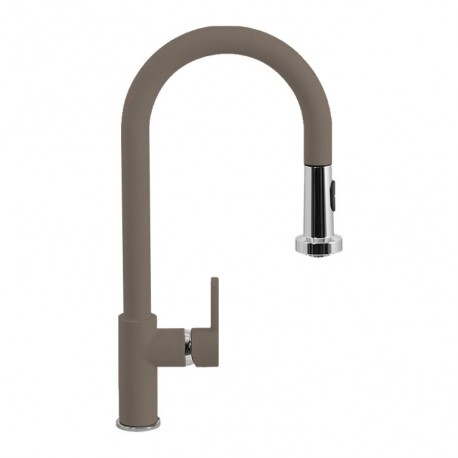 SCHOCK AQUAALTO SINGLE LEVER SINK MIXER TAP WITH PULL OUT SPRAY UMBER