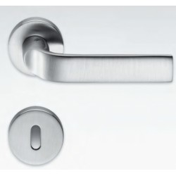 COLOMBO DESIGN DOOR HANDLES PAIR META SERIES ON ROSE MADE IN ITALY