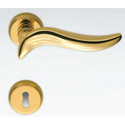 COLOMBO DESIGN DOOR HANDLES PAIR PIUMA SERIES ON ROSE MADE IN ITALY