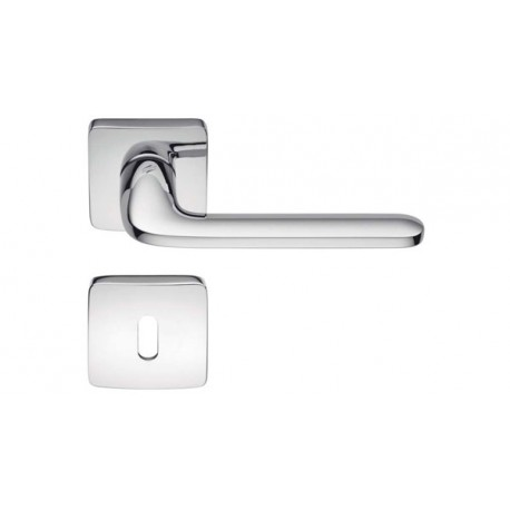 COLOMBO DESIGN DOOR HANDLES PAIR ROBOQUATTRO S SERIES ON ROSE MADE IN ITALY