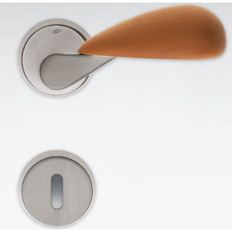 COLOMBO DESIGN DOOR HANDLES PAIR TACTA SERIES ON ROSE MADE IN ITALY