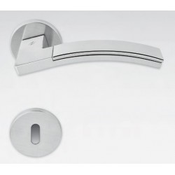 COLOMBO DESIGN DOOR HANDLES PAIR TRAMA LC71 SERIES CHROME MATT-POLISHED ON ROSE MADE IN ITALY