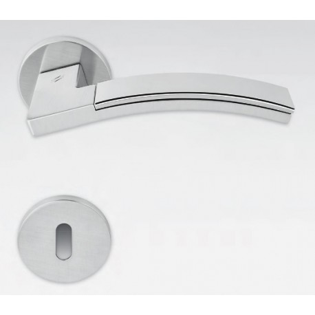 COLOMBO DESIGN DOOR HANDLES PAIR TRAMA LC71 SERIES ON ROSE MADE IN ITALY