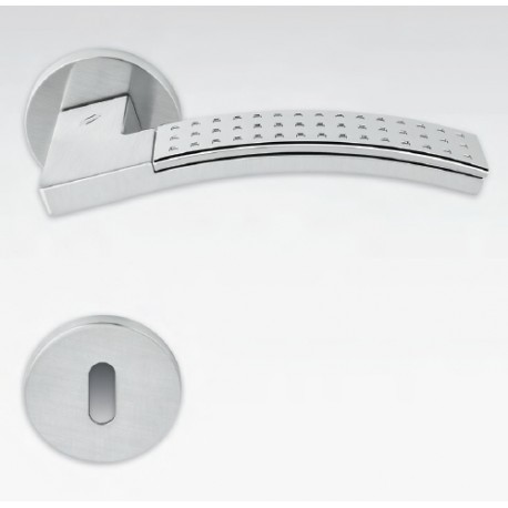 COLOMBO DESIGN DOOR HANDLES PAIR TRAMA LC81 SERIES CHROME MATT-POLISHED ON ROSE MADE IN ITALY