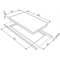 TABLE DE CUISSON SMEG PGF96 ACIER INOX 90 CM