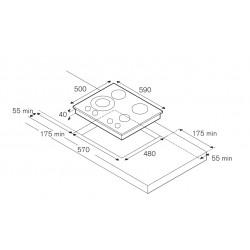 TABLE DE CUISSON LA GERMANIA FUTURA 60 P680 1D9X ACIER INOX 60 CM