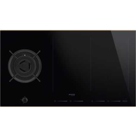 Smeg pm6912wldr gas induction hob dolce stil novo black for Table induction 90 cm
