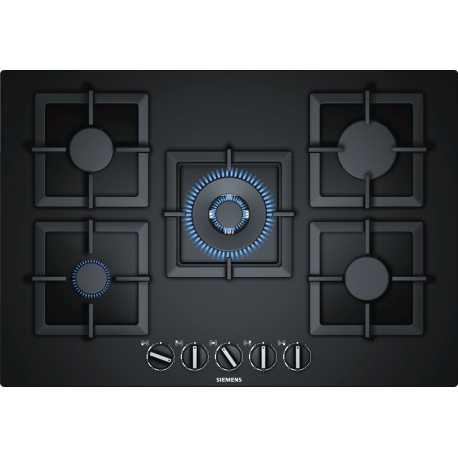 table de cuisson gaz siemens ep7a6qb20 verre noir 75 cm. Black Bedroom Furniture Sets. Home Design Ideas