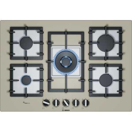 table de cuisson gaz bosch ppq7a8b90 verre champagne 75 cm fab a. Black Bedroom Furniture Sets. Home Design Ideas