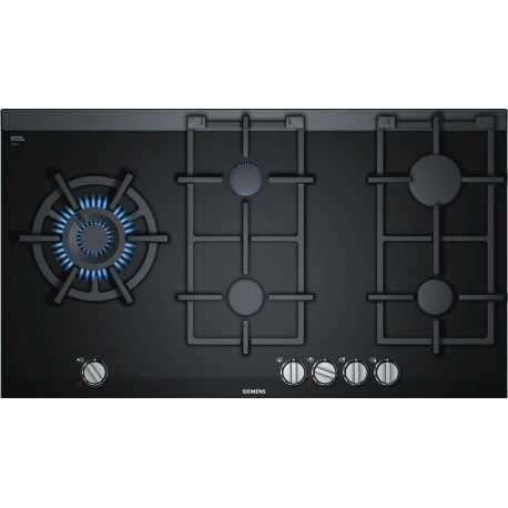 SIEMENS GAS HOB ER9A6SD70 BLACK CERAMIC GLASS 90 CM