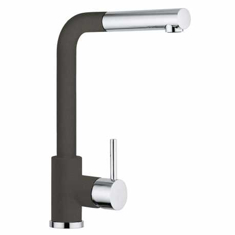 SCHOCK AQUAVIVA SINGLE LEVER KITCHEN SINK MIXER TAP WITH PULL OUT SPRAY CHROME AND ASPHALT