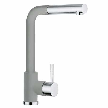 SCHOCK AQUAVIVA SINGLE LEVER KITCHEN SINK MIXER TAP WITH PULL OUT SPRAY CHROME AND PURE GRAY