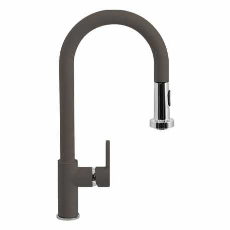 SCHOCK AQUAALTO SINGLE LEVER SINK MIXER TAP WITH PULL OUT SPRAY ASPHALT