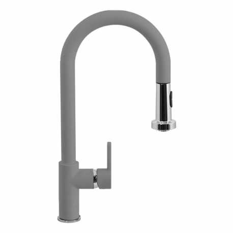 SCHOCK AQUAALTO SINGLE LEVER SINK MIXER TAP WITH PULL OUT SPRAY PURE GRAY