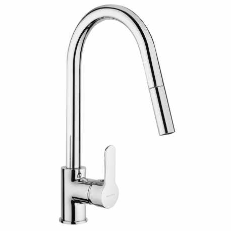 SCHOCK AQUAMOON SINGLE LEVER SINK MIXER TAP WITH PULL OUT SPRAY CHROME