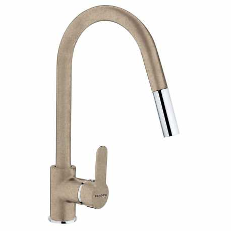 SCHOCK AQUAMOON SINGLE LEVER SINK MIXER TAP WITH PULL OUT SPRAY OATMEAL