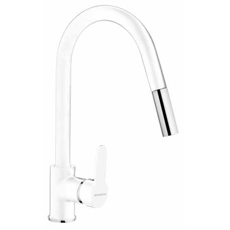 SCHOCK AQUAMOON SINGLE LEVER SINK MIXER TAP WITH PULL OUT SPRAY PURE WHITE