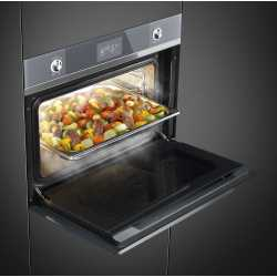 SMEG COMPACT COMBI STEAM OVEN SF4102VCS SILVER GLASS 60x45 CM